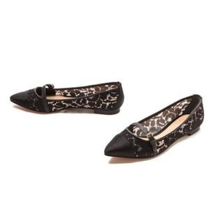 Tory Burch Black Sutton Lace Flats Mary Janes 7 M